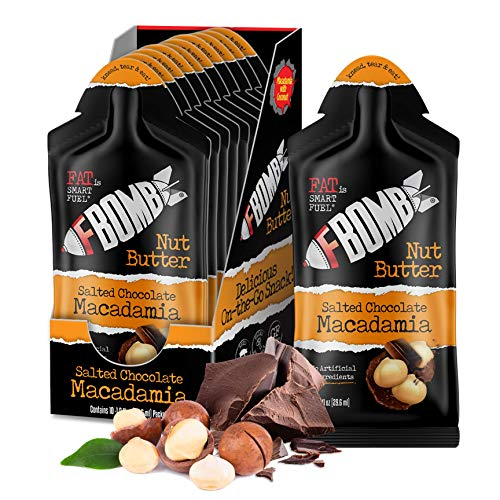 FBOMB Macadamia Nut Butter Packets: Salted Chocolate (10 Pack), Keto Fat Bombs: All-Natural Energy From Healthy Fats | Low Carb, Paleo, Keto Snacks With No Added Sugar