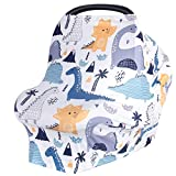 Car Seat Covers for Babies, Nursing Cover for Breastfeeding, Baby Carseat Canopy for Boys and Girls, Infant Car Seat Cover, Multiuse Baby Shopping Cart/High Chair/Stroller Covers (Dinosaur)