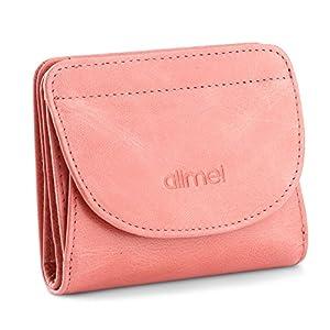 Alimei 二つ折り財布レディース 本革財布 ボックス型 メンズ 小銭入れ 大容量 コインケース (ピンク)