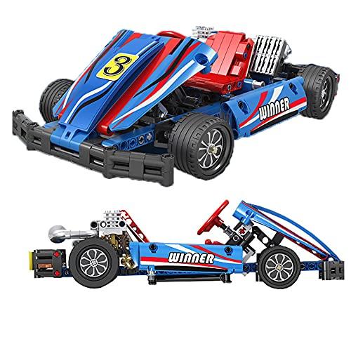 WANGCHAO Karting Kids Racing Car Construction Building Blocks and Licks Intelligence Aprendizaje y Actividad Juguetes para niños Niñas Niños Edad Mayores de 6 años, 371 PCS (27x16x8cm)