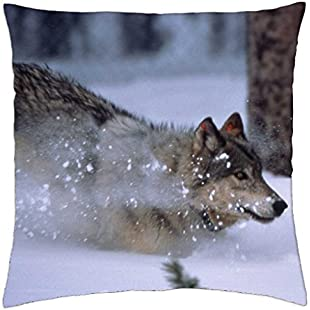 "iRocket - Grey Wolf Running In Snow - Throw Pillow Cover (16"" x 16"", 40cm x 40cm)"