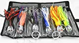 Fishing Lure Set of 6 Trolling Saltwater Skirted Lures: 9 inch Rigged Lures and Black Bag Included. Catch Any Predatory Pelagic Fish in The Ocean Including Dolphin, Tuna, and Wahoo!