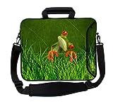 MySleeveDesign Laptoptasche Notebooktasche Umhängetasche Größe 15,6 Zoll & 17,3 Zoll - mit VERSCH. Designs - Orange Frog [15]