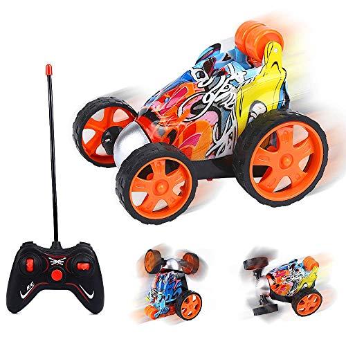 Mgrett Ferngesteuertes Auto, 2.4GHz Kinder Spielzeugauto Fahrzeug 360° Drehung Auto Ferngesteuerter Rennfahrer Stunt Auto Elektrisch Motorräder für Kinder Jungen Mädchen Kindergeschenk (Rot)