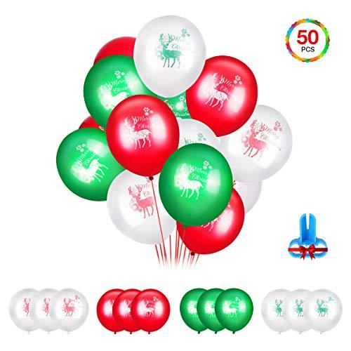EIVOTOR 50 Stück Luftballon Feiertag Dekorationsballon mit Knoter 12 Zoll Feier Deko Ballons Set Latex Elch Party Ballon Rot Weiß Grün Elk Dekoration für Holiday Party Zuhause Schule Feierlichkeit