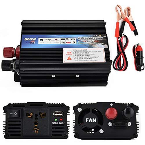 BLMCLD - Convertidor de tensión adaptador de corriente CC 12 V 24 V a 110 V AC 220 V transformador de coche con puertos USB y tomas de cargador de coche, adaptador de encendedor de 24 V to110 V