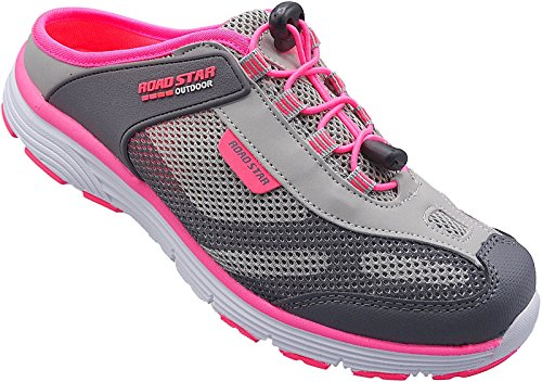 Damen Sabots Schuhe Sandalette Pantoletten Slipper Gr.36-41 Art.Nr.1699 grau-pink (39)