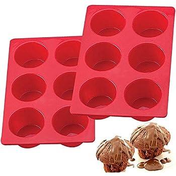 European LFGB Silicone Jumbo Muffin Pan 6 Cup, Non-Stick Large Cupcake Baking Pan, Egg Cupcake Molds, BPA Free Muffin Tin Tray, Set of 2 Red