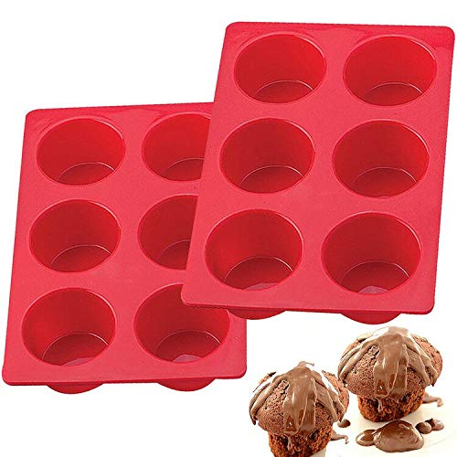 European LFGB Silicone Jumbo Muffin Pan 6 Cup, Non-Stick Large Cupcake Baking Pan, Egg Cupcake Molds, BPA Free Muffin Tin Tray, Set of 2 Red