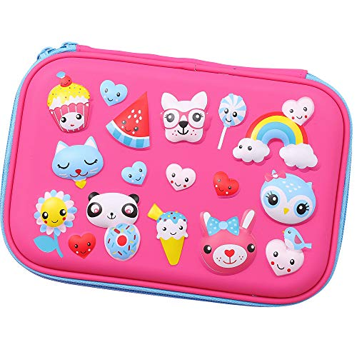 SOOCUTE Sunflower Rainbow Dog Cat Panda Owl Embossed Girls Big Hardtop Pencil Case with Compartment - Cute School Stationery Supply Organizer Box Pen Holder for Kids Children Toddlers (Hot Pink)