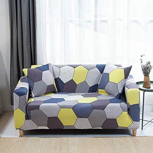 HFTYCC Fundas de sofá 1-4 Asiento, Simple decoración Europea para el hogar, Juegos de sofá, Silla Protectora de Tela elástica 2 plazas, Rejilla Gris