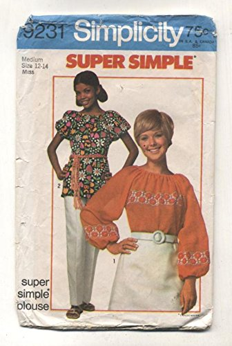 Vintage Simplicity 1970 Misses Peasant Blouse Sewing Pattern 9231