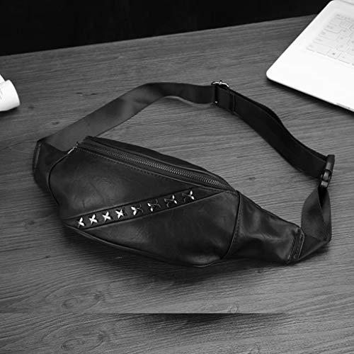 ZJ-SUMBRELLA Gürteltasche Lässige Mode Brusttasche Schulter Umhängetasche Männer und Frauen Neutrale Trendtasche Modetasche Ledertasche Niet Umhängetasche (Schwarz)