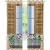Cortinas opacas, persianas de ventana con flores y plantas de colores en estilo medieval, 52 x 84, cortinas de ventana de sala de estar, dormitorio, multicolor