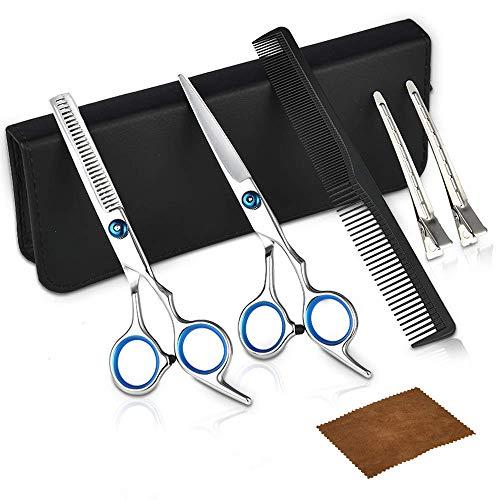 Haarschere Friseurschere, DIOZO Edelstahl Ausdünnen Haarschneideschere scheren set Profi scharfe Effilierschere mit Etui, Perfekter bartschere Haarschnitt für Damen und Herren