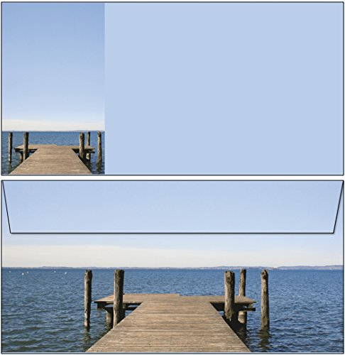Briefumschläge Seeblick 20 Stück Kuverts DIN lang ohne Fenster 61001