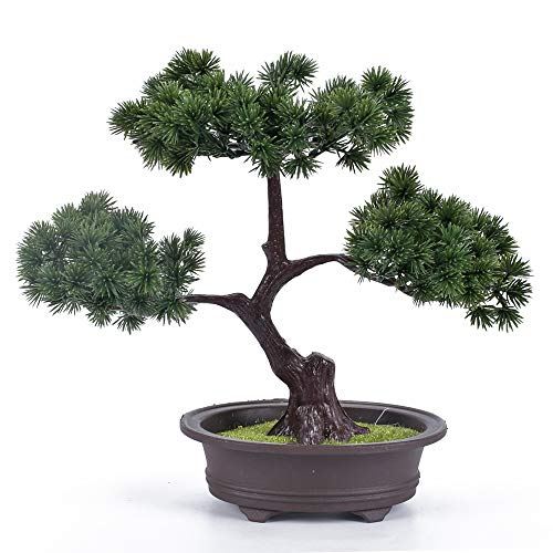 HUAESIN Artificial Welcoming Pine Bonsai Fake Potted Plant Simulation Pine Tree for Bathroom Home Kitchen Office Bookshelf Garden Indoors Outdoors Aquarium Ornament Decor