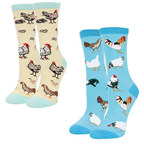 HAPPYPOP Novelty Chicken Socks for Women Girls Chicken Gifts for Chicken Lovers Chicken Gifts for Women Farm Animal Socks Egg Rooster Socks