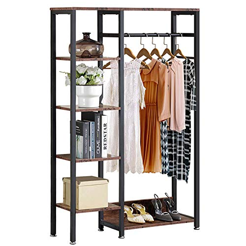 VECELO Vintage Clothes Closet/Storage Organizer Freestanding Garment Rack with Hanging Rod and Shelves, Brown