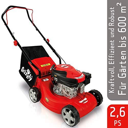 Grizzly Benzin Rasenmäher BRM 40-40 cm Schnittbreite, 4 Takt OHV Motor, (Basic - Red Edition)