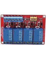 Módulo de relé de 4 canales de 5V / 12V / 24V, placa de módulo de relé optoacoplador de disparo alto y bajo para Arduino(24V)