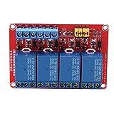 【𝐒𝐞𝐦𝐚𝐧𝐚 𝐒𝐚𝐧𝐭𝐚】 Módulo de relé de placa de PC, módulo de relé de optoacoplador de 4 canales Placa de disparo alto y bajo 5V/12V/24V(24V)
