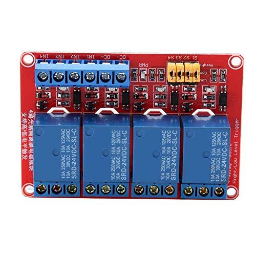 PC-Platinen-Relaismodul, 4-Kanal-Optokoppler-Relaismodulplatine High & Low Trigger 5V/12V/24V(24V)