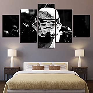 sssxka Canvas Paintings for Living Room HD Prints Posters Framework 5 Pieces Stormtrooper Movie Pictures Wall Art Home Decor-40x60cmx2 40x80cmx2 40x100cmx1
