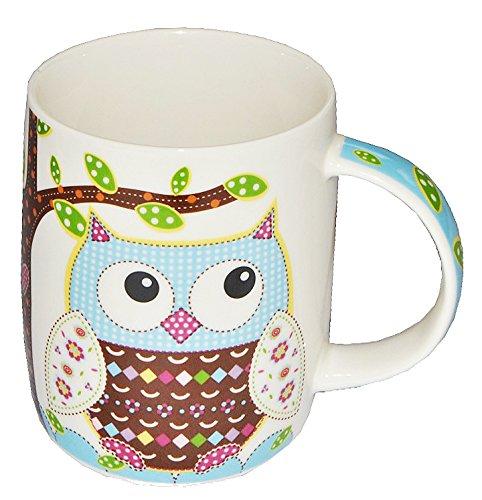 alles-meine.de GmbH 1 STK. Henkeltasse / Porzellantasse - mit Eulen - groß - Keramik Trinktasse mit Henkel Kaffeetasse / Teetassen - Eulenmotiv Tassen Tasse Becher