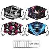 4pcs 3d Pirate Skull Black Crystal Flame Skull Art Face Mask With Filter Pocket Washable Reusable Face Bandanas Balaclava For Men Women With 8 Filters