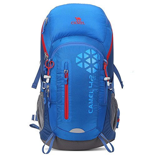 Camel 42L Internal Frame Backpack for Backpacking Camping Hiking Travel Outdoor Large Lightweight Daypack with Rain Cover Blue