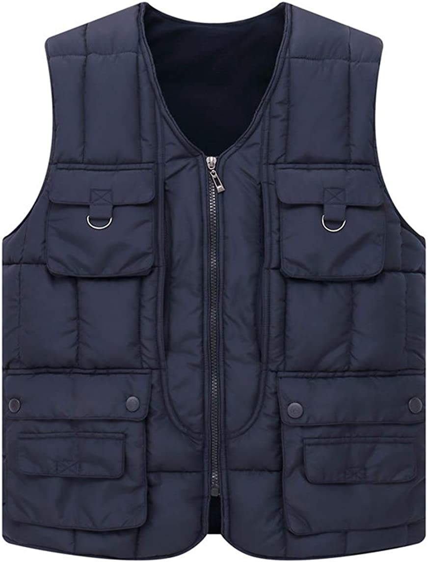 chouyatou Men's Casual Outdoor Fleece Lined Quilted Alternative Down Vest Jacket