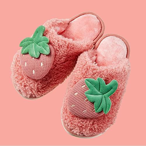 Zapatillas De Casa para Mujer Primavera,Lindas Pantuflas De AlgodóN con Frutas De Fresa, Pantuflas De Felpa para NiñOs Y NiñAs, Zapatos De PVC con Suela De Goma Antideslizante, Pantuflas Suaves Y Lig