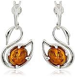 Sterling Silver Honey Amber Swan Earrings