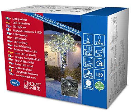 Konstsmide 3611-200 Guirlande 80 Micro LED Blanc + Câble Noir 24 V
