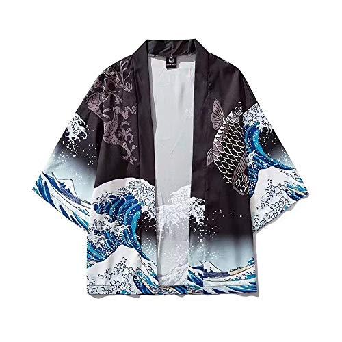 Haori Giapponese, Giapponese Surf Carpa Stampa Cardigan Donna Kimono Estate/Autunno Camicia Larga Top Casual Uomo Kimono Cappotto Yukata,Black-XLarge