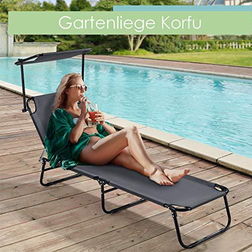 ArtLife Gartenliege Korfu - Sonnenliege klappbar mit Sonnendach aus Metall und Kunststoff in schwarz und grau | Für Balkon, Garten, Terrasse, Outdoor