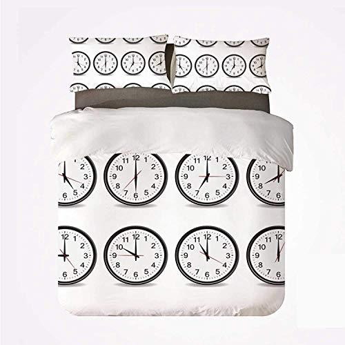Juego de Funda nórdica Decoración de Reloj Juego práctico de 3 Camas, Relojes con números Que Muestran Cada Hora Ilustración Hora y Minutos para Dormify