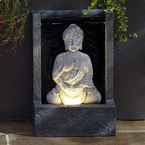 Lights4fun LED Buddha Brunnen beleuchtet grau strombetrieben