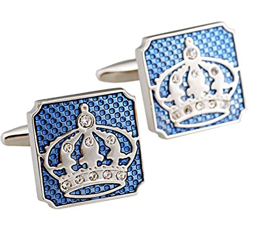 Gudeke Cristal Cufflinks Crown Blue
