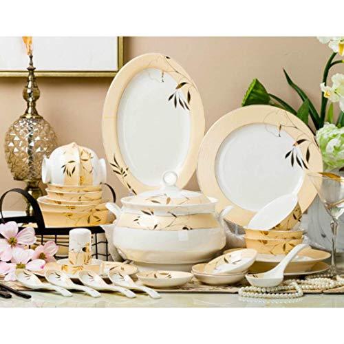WEHOLY Dinner Fashion Ceramic Vajilla Set Platos 58pcs Home Bowl Cocina Microondas Platos Menaje Vajilla Utensilios de Cocina Sets de vajilla (# 10 (58 Piezas/Juego))
