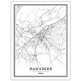 guatan Leinwand Bild,Syrische Damaskus Stadt Karte Schwarz