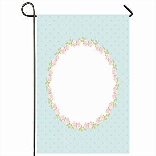 Ahawoso Outdoor Garden Flags 12x18 Inch Pretty Pattern Retro Floral Oval Roses Shabby Chic Vintage Birthday Antiques Blossom Bouquet Bridal Vertical Double Sided Home Decorative House Yard Sign