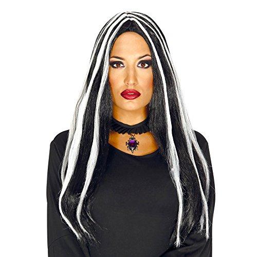 Peluca de bruja con mechas, color negro, talla única.