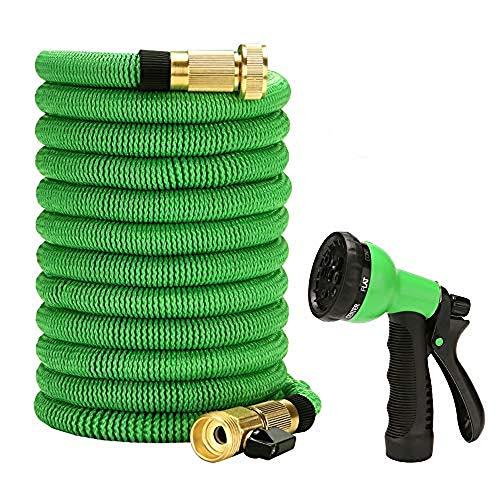KKmoon Tubo Estensibile da Giardino in Poliestere Espandibile, Pistola ad Acqua Spray per Giardino Auto con Ugello a 6 Funzioni Durevole Tubo Flessibile dell'Acqua (25 Piedi)