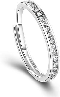 LDYQ Anello 925 Sterling Argento Finto Diamante Eternity con cubica Zirconia Micro Anello da Fidanzamento/Matrimonio Band ...