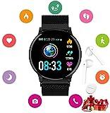 Montre Connectée Femmes Homme Enfant Smartwatch Etanche Cardiofréquencemètre Sport Casques sans Fil pour Samsung Xiaomi Huawei Android iPhone iOS (Noir)