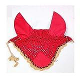 馬のイヤーマフ手織りメッシュ冬の乗馬暖かいアーティファクト3PCS,赤