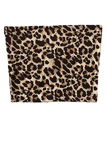 MakeMeChic Women's Sleeveless Plaid Sexy Strapless Bandeau Tube Top Leopard M