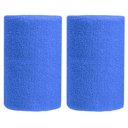 BBOLIVE - Muñequera de algodón de Rizo atlético, Ideal para Todas Las Actividades al Aire Libre (1 par), Azul (Jewelry Blue)